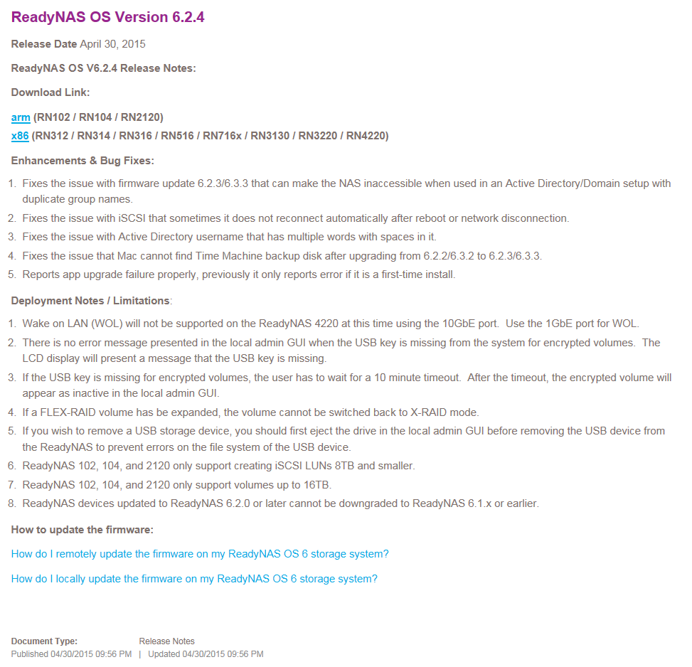 ReadyNAS OS Version 6.2.4