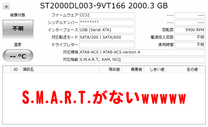 S.M.A.R.T.がない