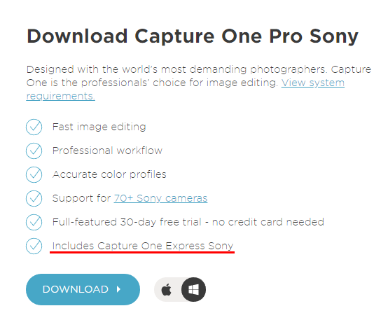 Includes Capture One Express Sony