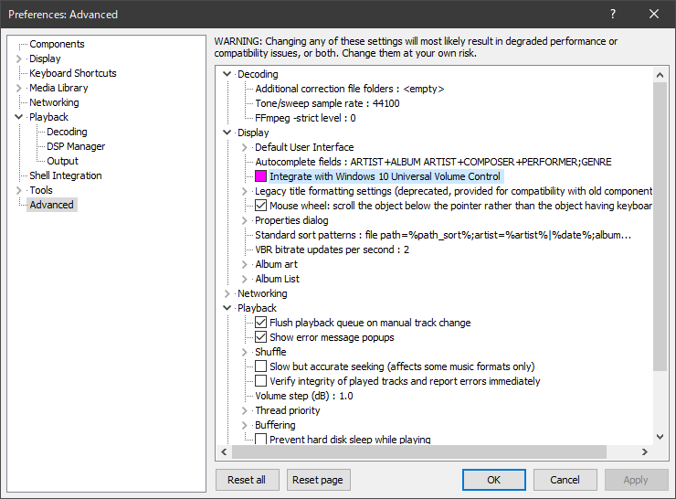 Integrate with Windows10 Universal Volume Control